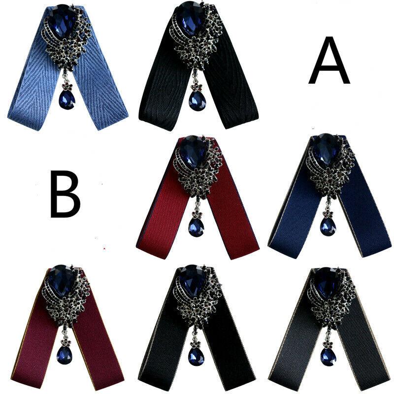 Women Girls Clip On Neck Bow Tie Ribbon Rhinestone Pendant Shirt Accessories New