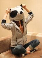 Asian Korean Womens Fashion Style Casual Panda Head Zipper Zip Up Hoodie Jacket
