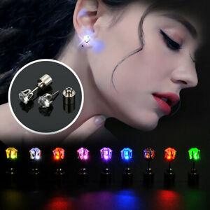 1Pair Women Light Up LED Flashing Dangle Earrings Ear Club Studs Jewelry Pa N8G0
