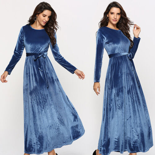 Kleider Samt Maxikleid Business Kleid Abendkleid Ballkleid Langarm Blau Bc836 Gspbl