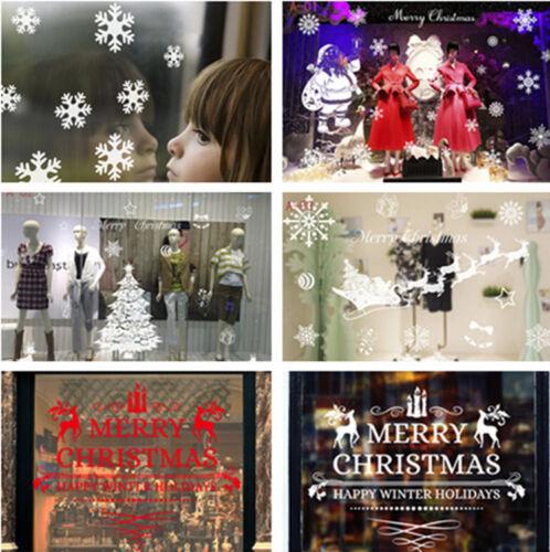 Christmas Merry Xmas Santa Claus Deers Snowflakes Window Glass Wall Stickers New