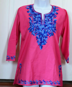 Blue-Embroidered-Pink-Color-Cotton-Tunic-Top-Kurti-Blouse-from-India-Large