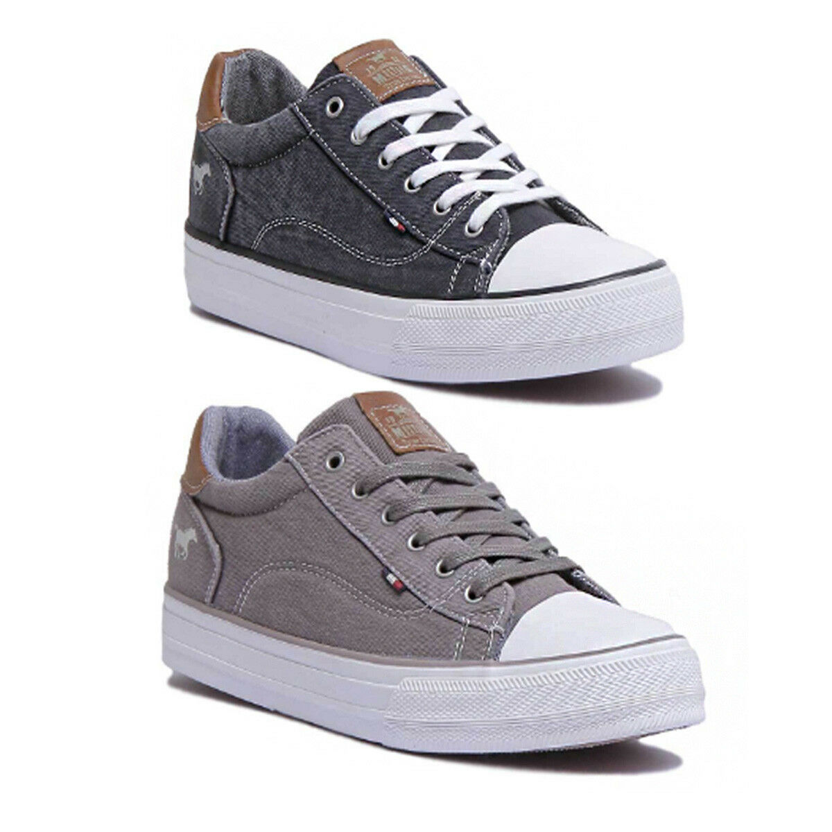 Mustang 1272 301 Womens Canvas Grey Trainers UK Size 3 - 8