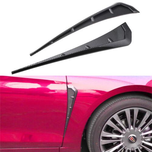 Car Fender Blade Side Shark Gills Vent Trim Cover For Universal 3D Carbon Fiber