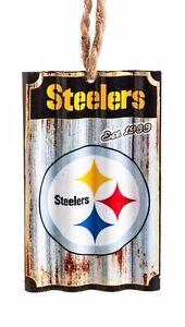 NFL-Pittsburgh-Steelers-Metal-Corrugate-Ornament-NEW