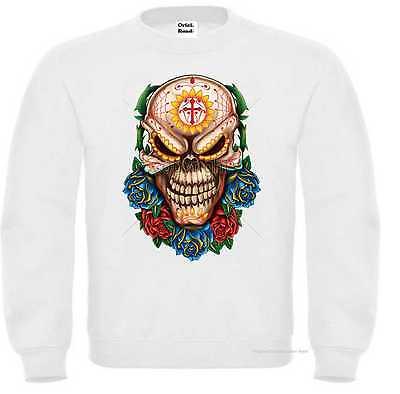 Amichevole Felpa Bianco Razor Rocke Billy Tatuaggio & Gothikmotiv Modello Skull Roses-oo&gothikmotiv Modell Skull Roses It-it Mostra Il Titolo Originale Superficie Lucente