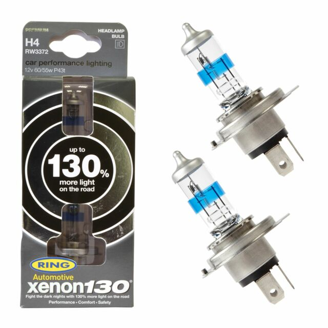 ANNEAU Xénon 130 super brillant blanc ampoule H4 Paquet de 2 RW3372