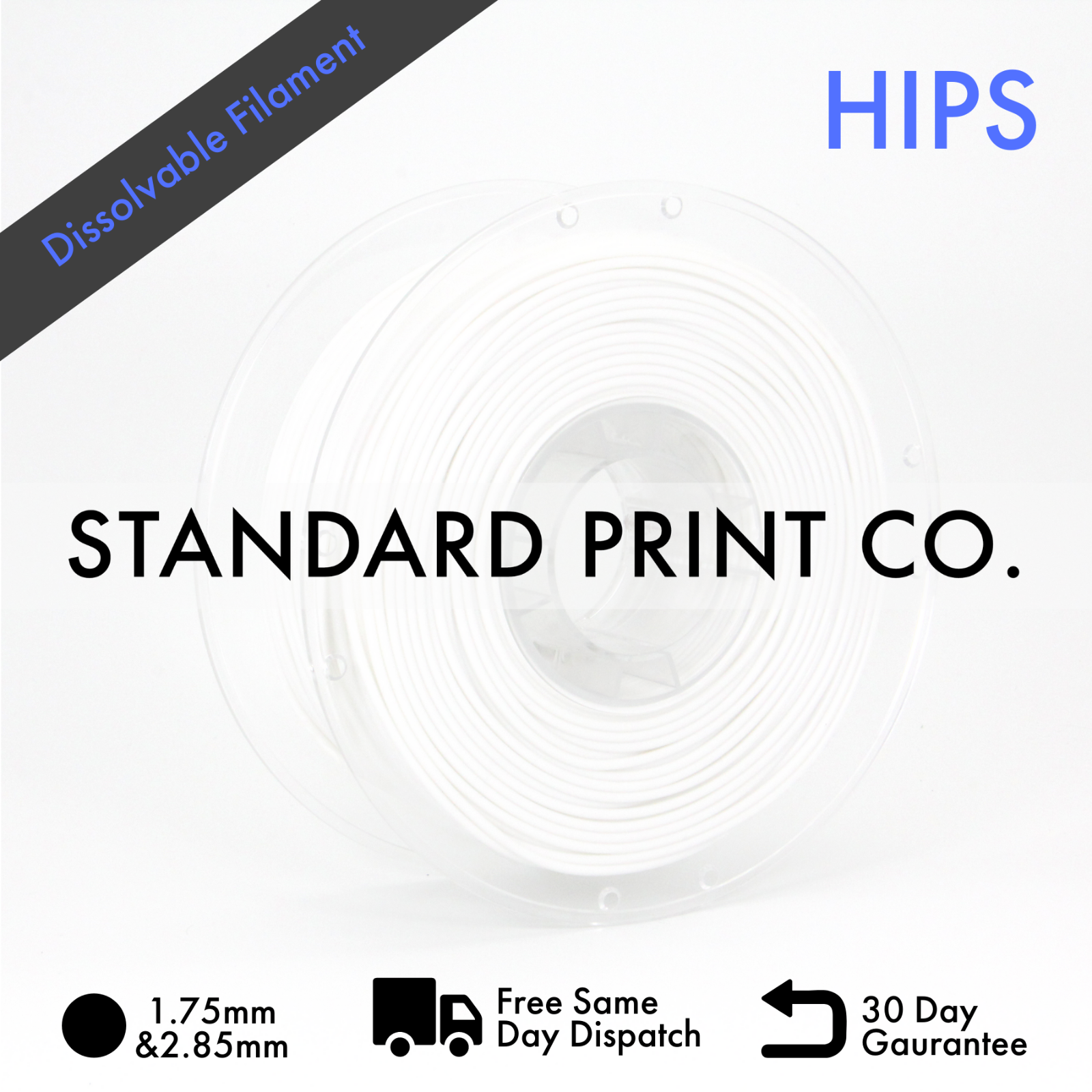 3D Printer Filament HIPS 1.75mm 1KG Australian Stock Standard Print Co.