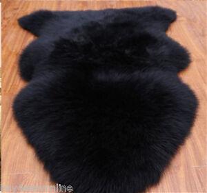 Real Australian Single One Pelt Sheepskin Black 2'x3' Rug ...