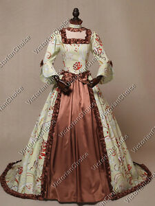 Renaissance Colonial Game of Thrones Mint Floral Ball Gown Period ...