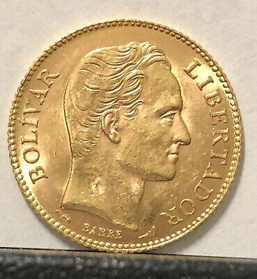 Simon Bolivar-Coat of Arms .1867 agw A VENEZUELA 1904 GEM BU 20 GOLD BOLIVARES