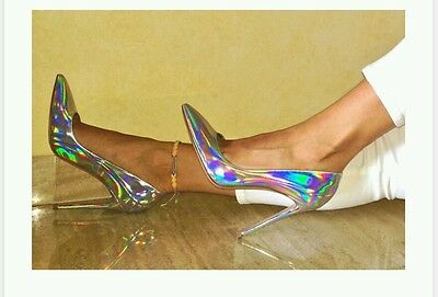👠SALE Strappy Sexy Hologram Holiday High Heels Stiletto Holographic Pump Shoe