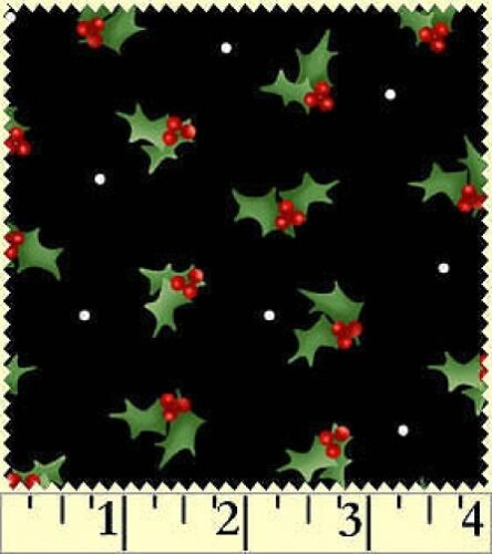 Fat Quarter Christmas Classics Holly on Black Cotton Quilting Fabric