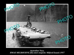 OLD-LARGE-HISTORIC-PHOTO-OF-AUSTRALIAN-NAVY-SHIP-HMAS-MELBOURNE-c1957-IN-NZ