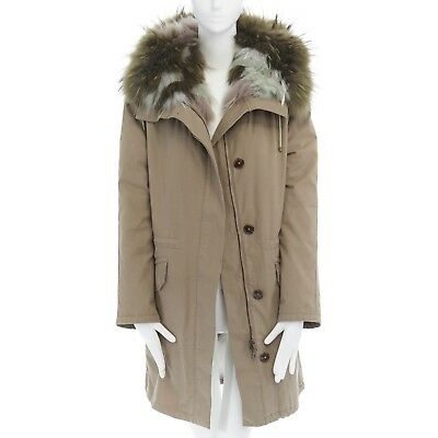 YVES SALOMON ARMY fox fur lined military green cotton hooded parka jacket XS | eBay