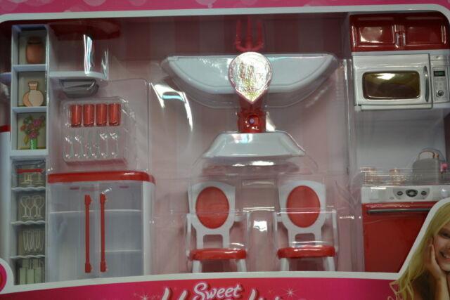 Barbie Size Dollhouse Furniture Modern Comfort Dining Room Set auction