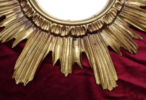 BAROCK ANTIK WANDSPIEGEL SONNE IN GOLD 42x42 CM RUND RUNDER REPRO SPIEGEL SUN 11
