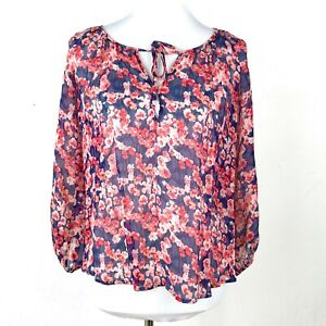 Joie-Red-amp-Blue-Rochan-Floral-Print-Silk-Long-Sleeve-Blouse-Size-X-Small-XS
