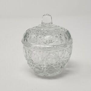 "Vintage 2.5""x2.5""x3"" VTG Clear Glass Round Trinket Dish w/ Clear Glass Lid"