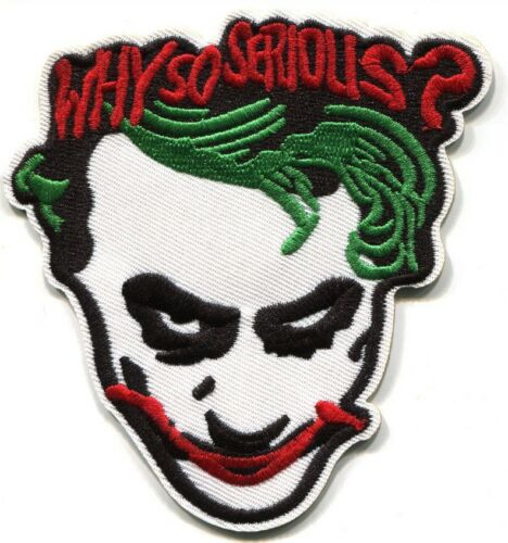"THE JOKER /""WHY SO SERIOUS?/"" EMBROIDERED PREMIUM QUALITY 4/"" PATCH"