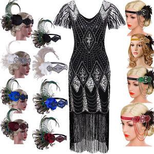 Black-Vintage-1920s-Flapper-Dress-Fringe-V-Neck-CapSleeve-Evening-Gown-Plus-Size