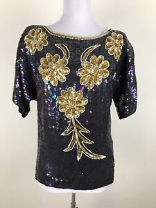 Vintage-1980s-Blouse-Size-S-M-Gold-Pearl-Black-Rainbow-Sequence-Trophy-Floral