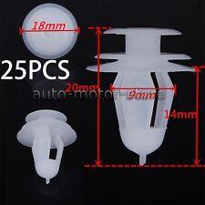 25 PCS WHITE PLASTIC RIVET RETAINER PUSH CLIP 9MM FOR CAR BUMPER FENDER USPS