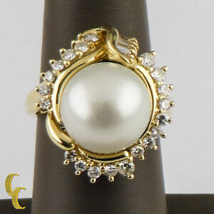 South Sea Pearl 13.5mm and Diamond 18k Yellow Gold Cocktail Ring Size 8.5