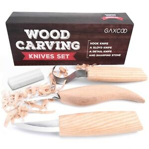 Wood-Carving-Tools-Kit-Knife-Sloyd-Hook-Detail-Knives-Bonus-Sharpener