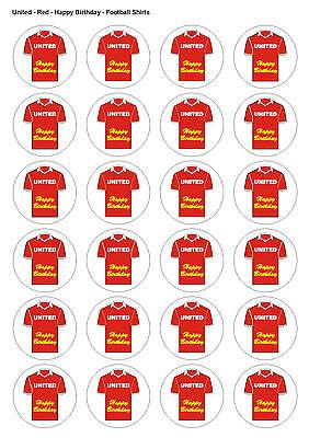 24x prédécoupées Man Utd Football Gaufrette Comestible Anniversaire Cupcake Gâteau TOPPERS 1339
