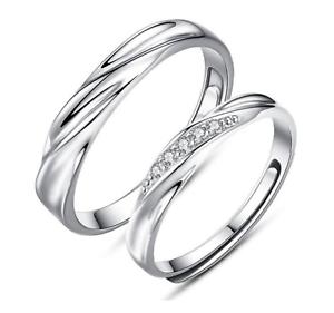 Coppia-Fedine-Fidanzamento-Argento-925-Fedi-Anelli-Regolabili-Fascia-Cristalli