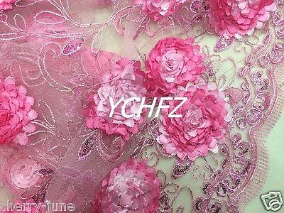 """Delicate 3D Pink Embroidery Sequins Floral Lace Mesh Bridal Dress Fabric 51""""W/Yd"""