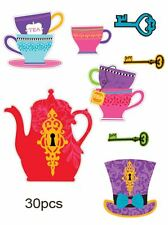MEGA VALUE 30 MAD HATTER TEA PARTY CUT OUTS Alice in Wonderland Decorations 0561