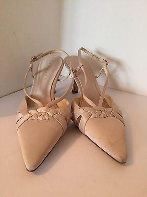 Zapatos De Satén Marfil Talla 8 por debut Tacón Alto Sling espaldas