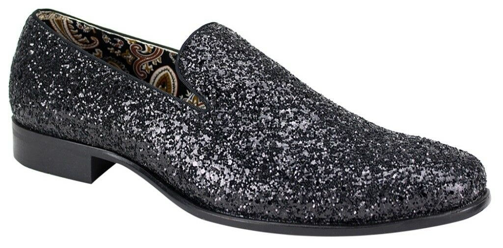 Men's Dress Casual Fancy shoes Black Sparkly Slip On Loafers AFTER MIDNIGHT 6683