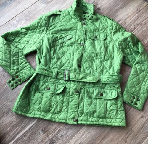 61. Barbour Belted  Quilted womens Lime   Green pu