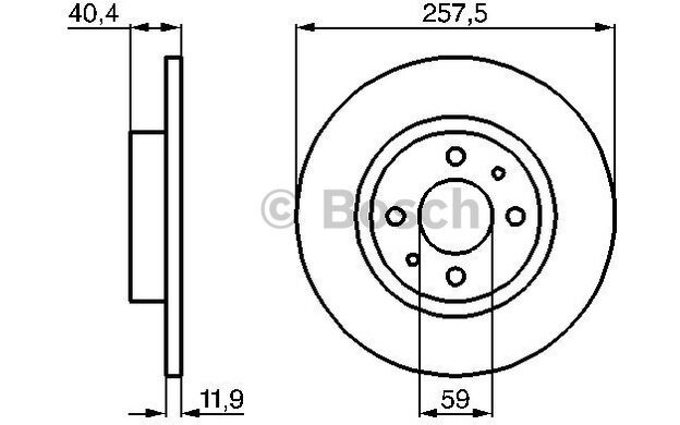BOSCH Juego de 2 discos freno Antes 257mm OPEL ASTRA AUDI A3 FIAT 0 986 478 343
