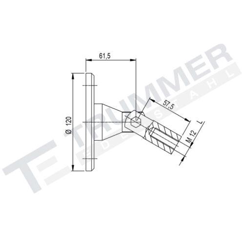 Edelstahl V4A Glasvordach MASSIV Halter Wandhalter Glashalter Zugstange 1500 mm