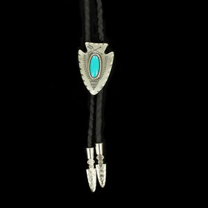 Double S Western Bolo Tie Silver Arrow Head with Blue Stone 22118