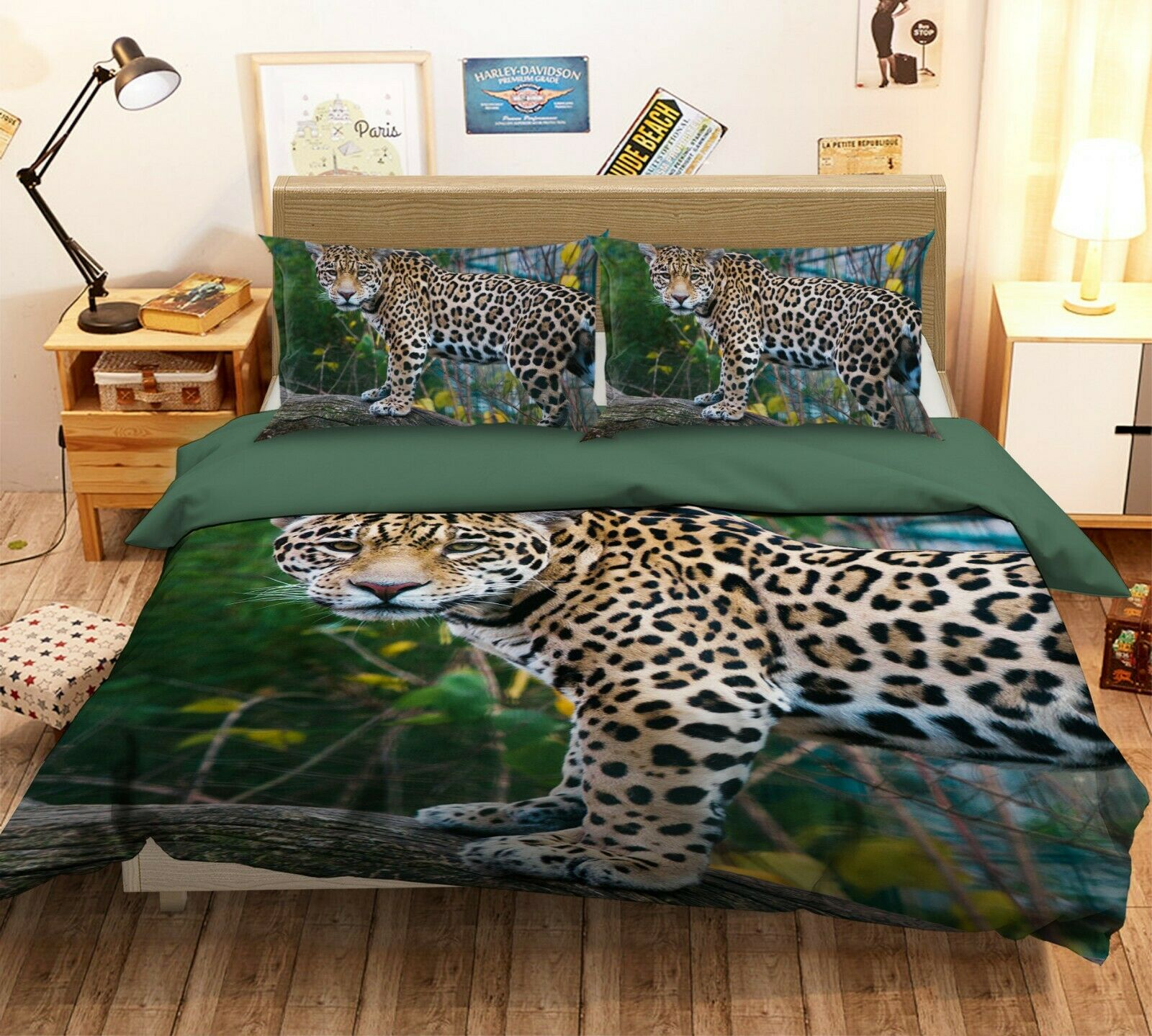 3D Leopard N22 Animal Bed Pillowcases Quilt Duvet Cover Queen King Amy