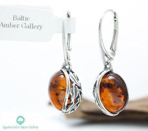 NATURAL-BALTIC-AMBER-STERLING-SILVER-925-Earrings-Droop-Dangle-Certified-amp-BOX