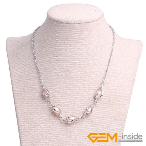 7-8 mm olivaire Riz Eau Douce Blanc Perle Plaqué Or fillgree Jewerly Set Cadeau