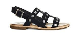 2b484b98384 Details about UGG Womens Zariah Gladiator Black Suede Studded Bling Sandals  Size 6