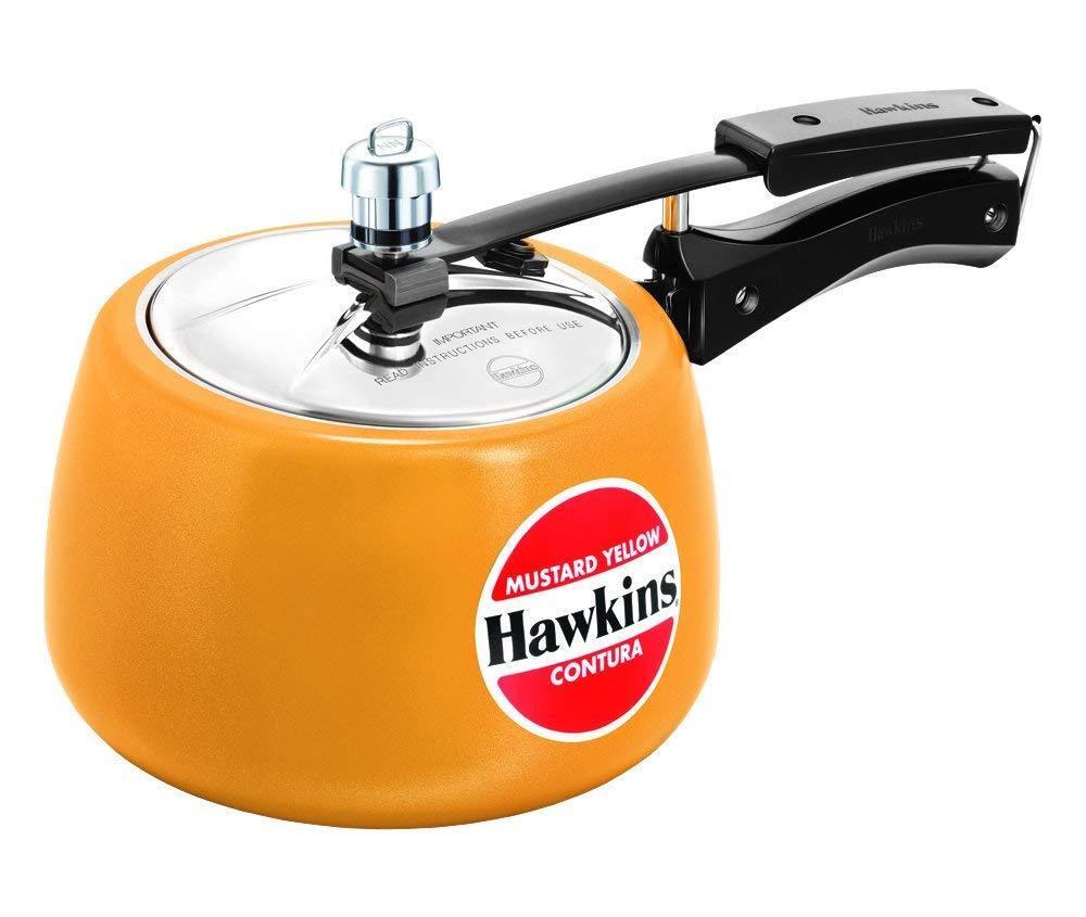 Hawkins Ceramic Coated Contura Pressure Cooker, 3 LTR, Mustard Yellow