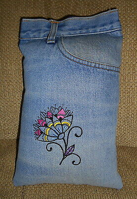 Hippie, Bohemian FLOWER UPCYCLED JEAN POCKET PILLOW, Gypsy, Upcycled