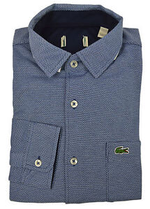 slank 100% autentisk køber nyt Details about Lacoste NWD Mens Blue Textured Soft Knit Button Down Shirt Sz  39 S/M