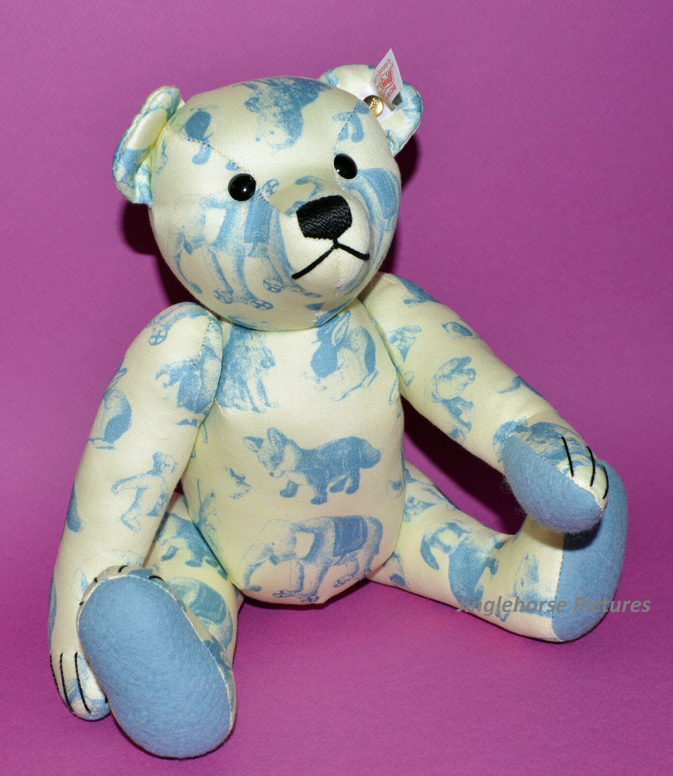 NEW Steiff SIGNATURE TEDDY BEAR Blau & Weiß Print 12  German Plush GIFT BOX Toy