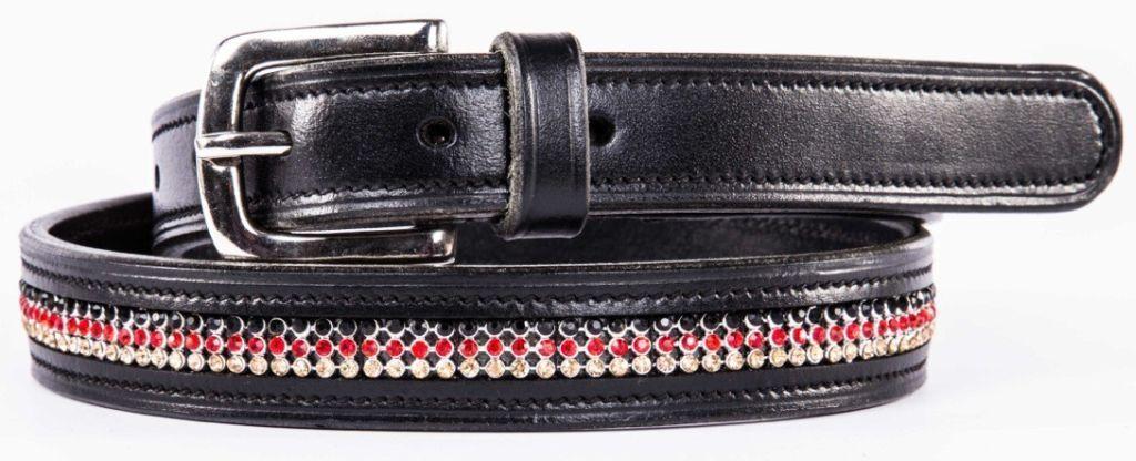 Qhp cuero cinturón Cinturón en Colors tierra Germany cuero negro m. pedrería 3 tamaños