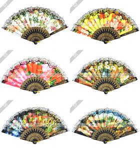 Chinese-Japanese-Folding-Flower-Print-Lace-Hand-Fan-U-S-Seller-Multi-Pattern