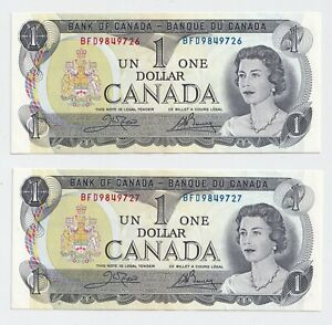 2-x-Sequential-1973-1-Bank-of-Canada-Notes-Crow-Bouey-UNC